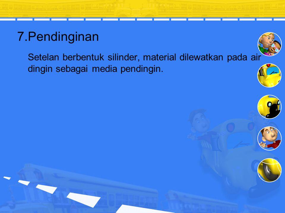 7.Pendinginan Setelan berbentuk silinder, material dilewatkan pada air dingin sebagai media pendingin.