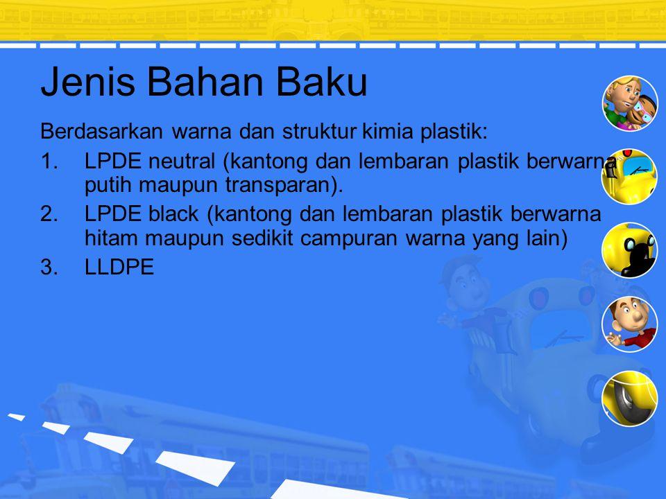 Jenis Bahan Baku Berdasarkan warna dan struktur kimia plastik: