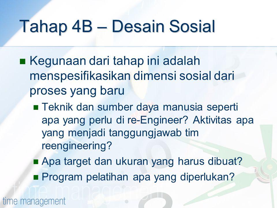 Tahap 4B – Desain Sosial Kegunaan dari tahap ini adalah menspesifikasikan dimensi sosial dari proses yang baru.