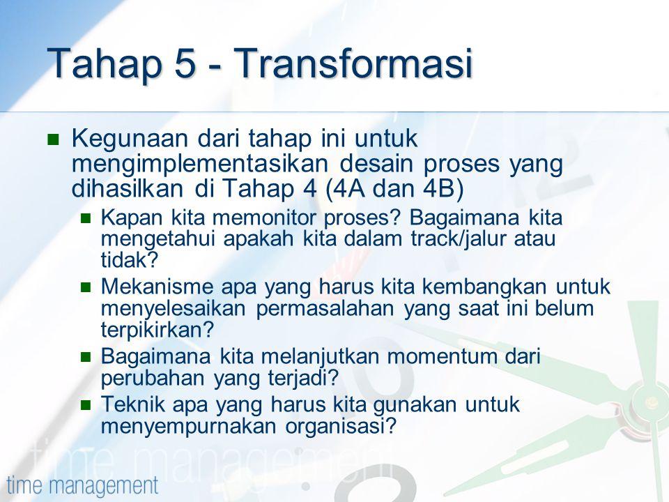 Tahap 5 - Transformasi Kegunaan dari tahap ini untuk mengimplementasikan desain proses yang dihasilkan di Tahap 4 (4A dan 4B)
