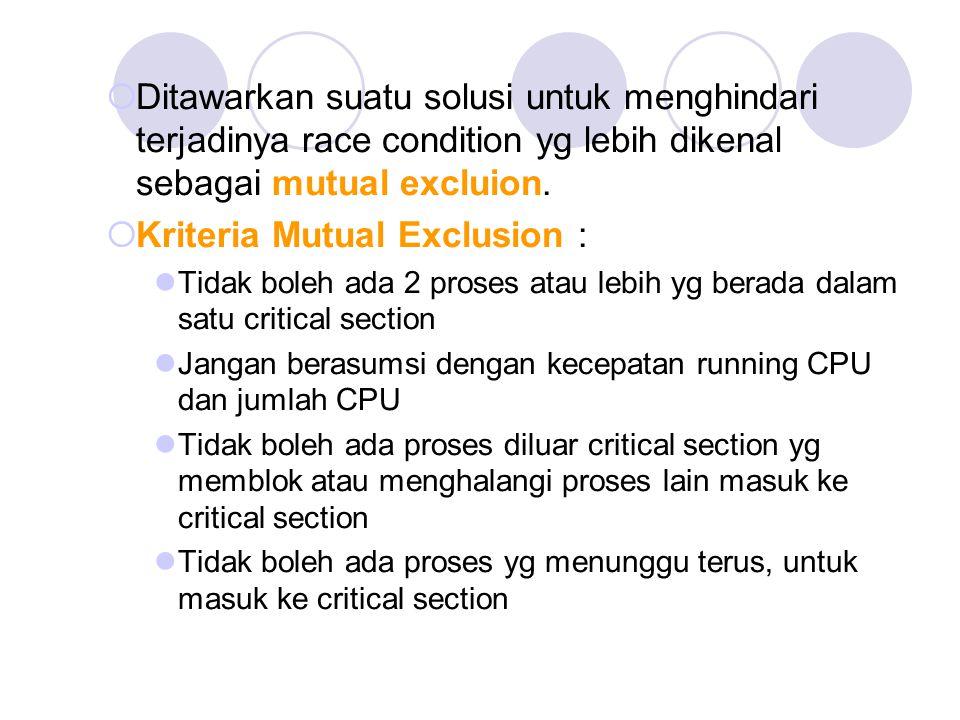 Kriteria Mutual Exclusion :