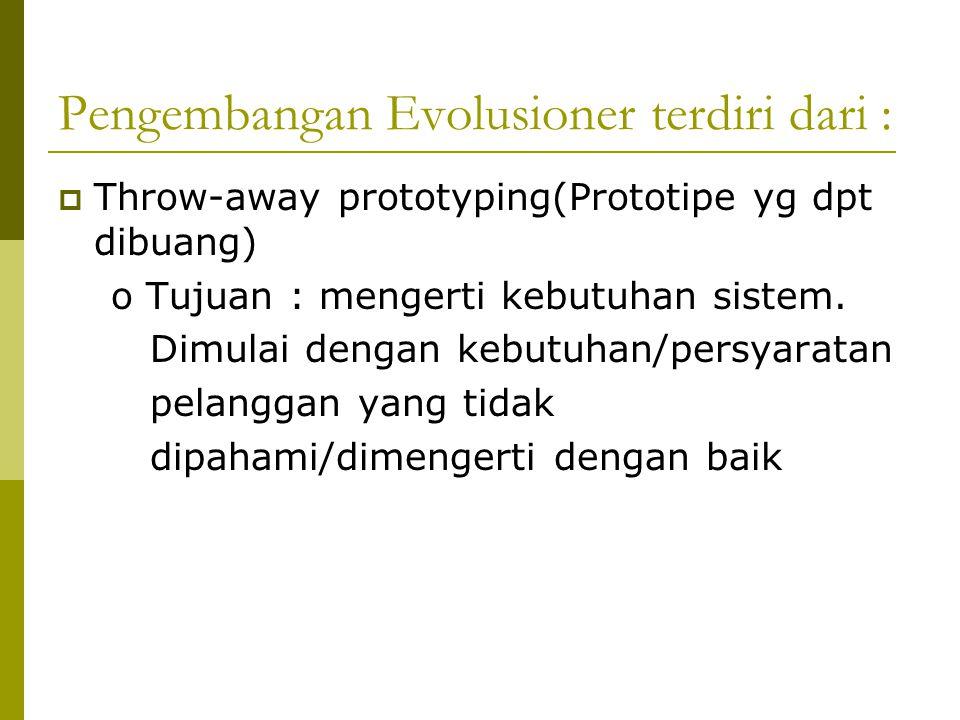 Pengembangan Evolusioner terdiri dari :