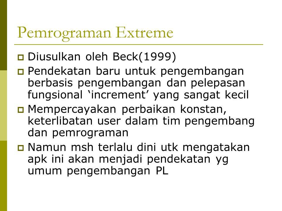 Pemrograman Extreme Diusulkan oleh Beck(1999)
