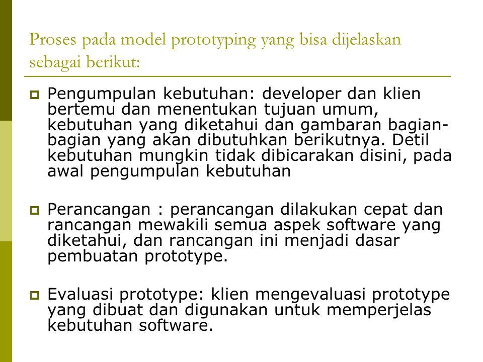 Proses pada model prototyping yang bisa dijelaskan sebagai berikut: