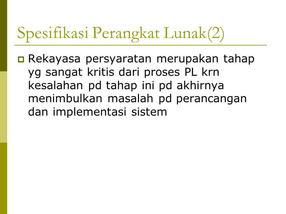 Spesifikasi Perangkat Lunak(2)