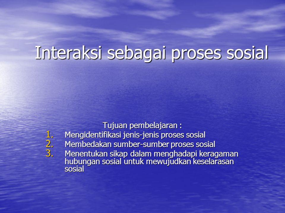 Interaksi sebagai proses sosial