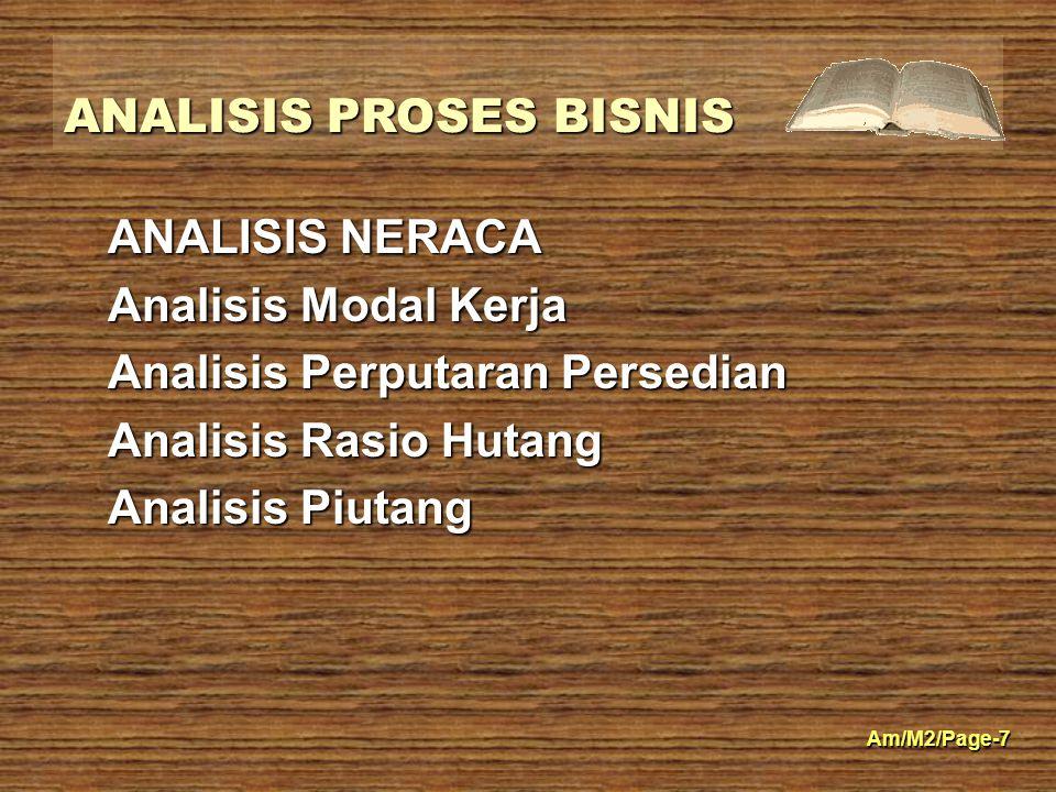 ANALISIS NERACA Analisis Modal Kerja. Analisis Perputaran Persedian.