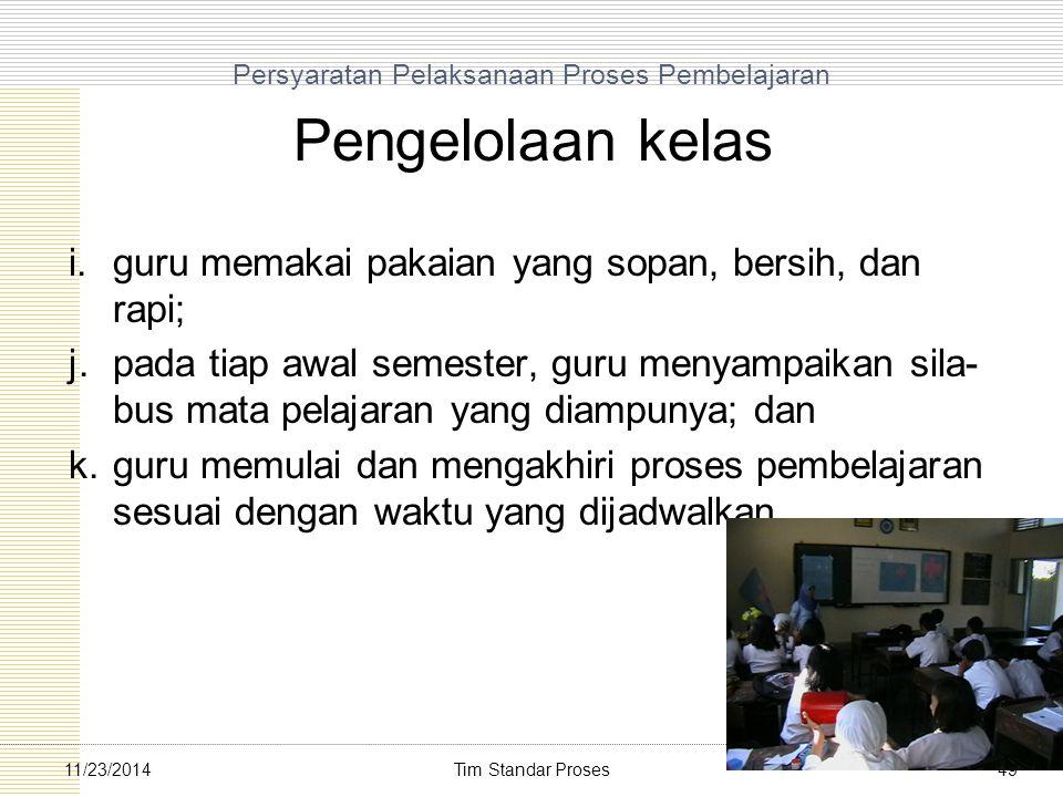 Persyaratan Pelaksanaan Proses Pembelajaran