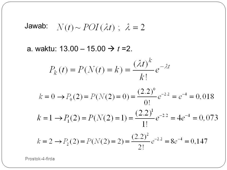 Jawab: a. waktu: 13.00 – 15.00  t =2. Prostok-4-firda