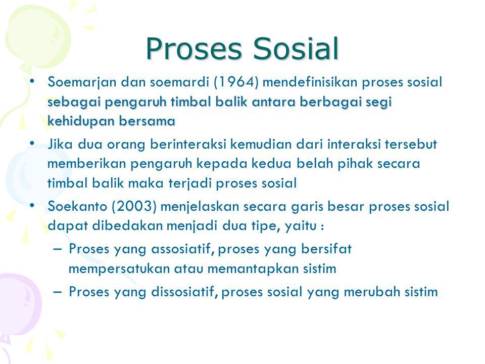 Proses Sosial Soemarjan dan soemardi (1964) mendefinisikan proses sosial sebagai pengaruh timbal balik antara berbagai segi kehidupan bersama.