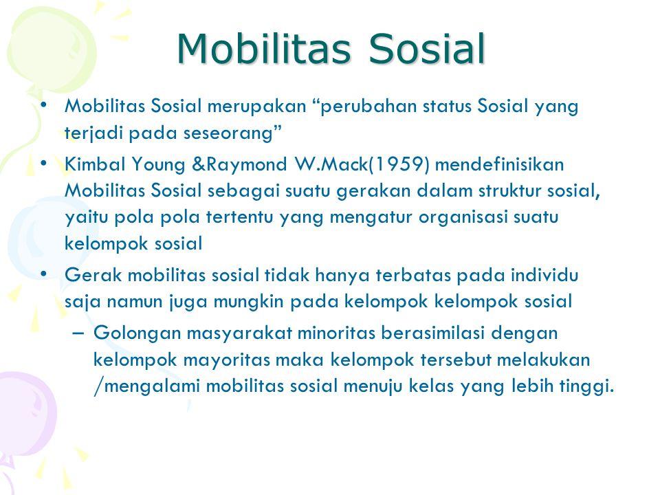 Mobilitas Sosial Mobilitas Sosial merupakan perubahan status Sosial yang terjadi pada seseorang