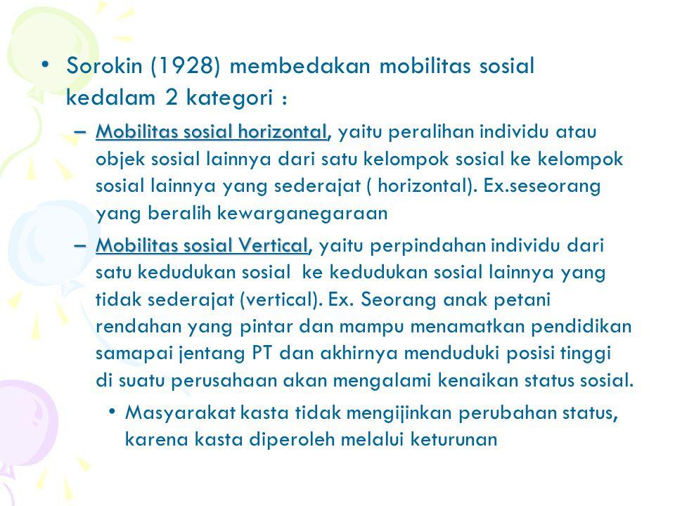 Sorokin (1928) membedakan mobilitas sosial kedalam 2 kategori :