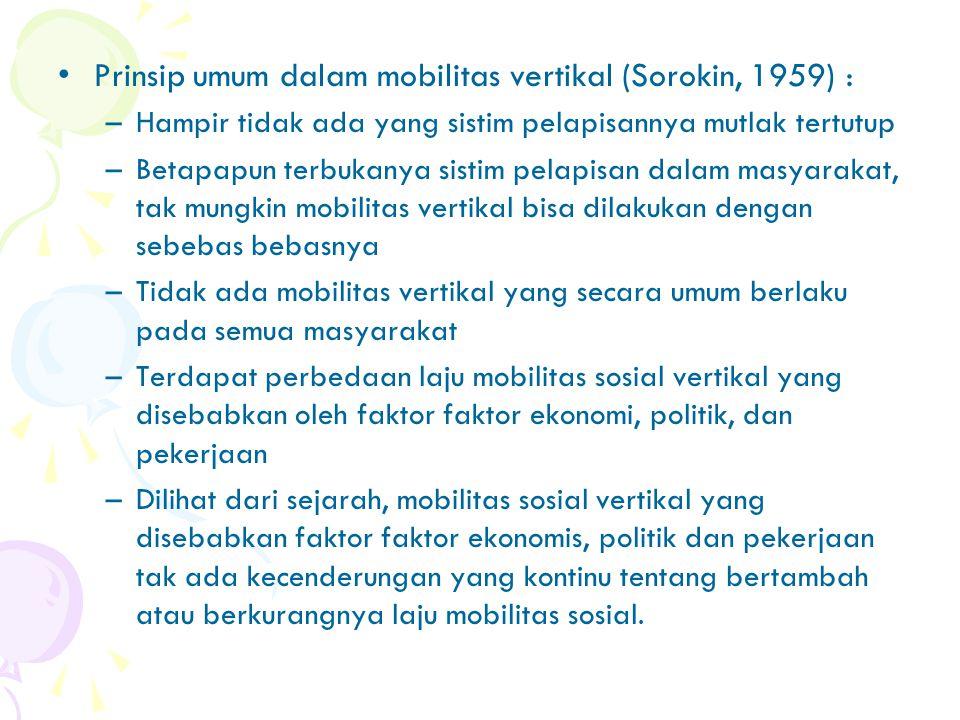 Prinsip umum dalam mobilitas vertikal (Sorokin, 1959) :