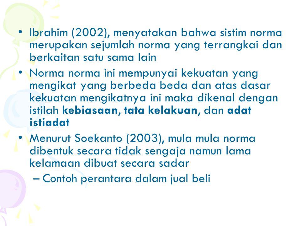 Ibrahim (2002), menyatakan bahwa sistim norma merupakan sejumlah norma yang terrangkai dan berkaitan satu sama lain