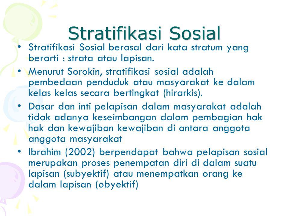 Stratifikasi Sosial Stratifikasi Sosial berasal dari kata stratum yang berarti : strata atau lapisan.