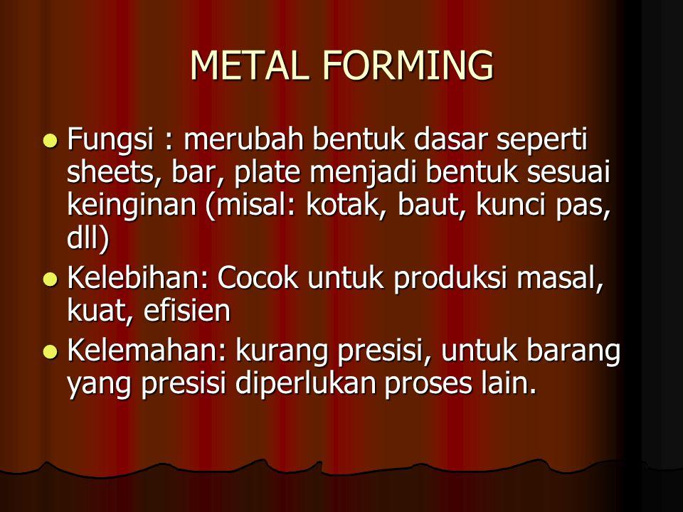 METAL FORMING Fungsi : merubah bentuk dasar seperti sheets, bar, plate menjadi bentuk sesuai keinginan (misal: kotak, baut, kunci pas, dll)