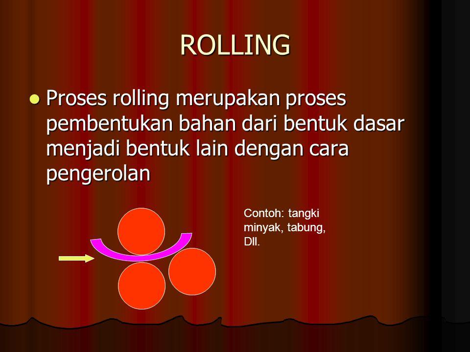 ROLLING Proses rolling merupakan proses pembentukan bahan dari bentuk dasar menjadi bentuk lain dengan cara pengerolan.