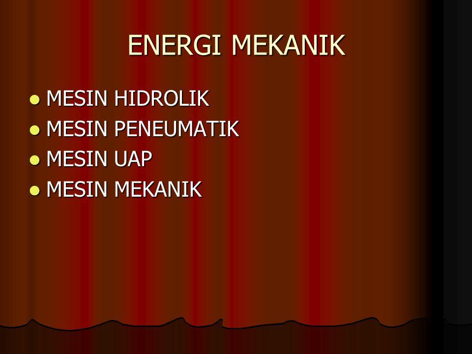 ENERGI MEKANIK MESIN HIDROLIK MESIN PENEUMATIK MESIN UAP MESIN MEKANIK