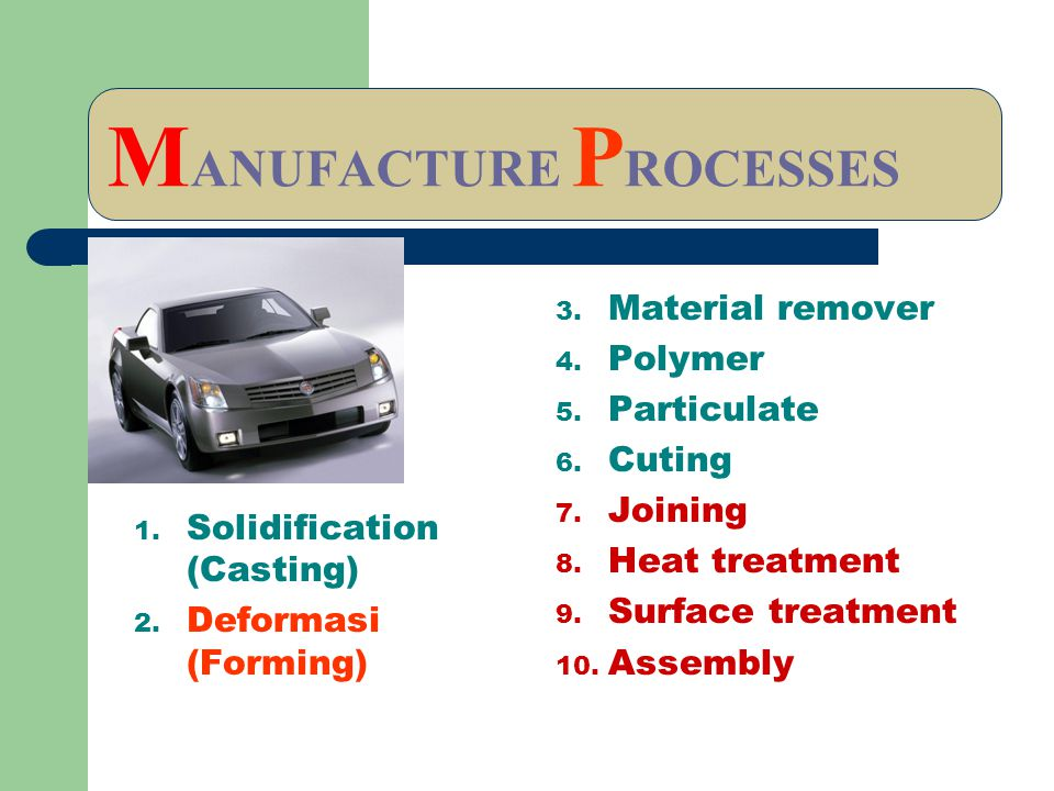 MANUFACTURE PROCESSES