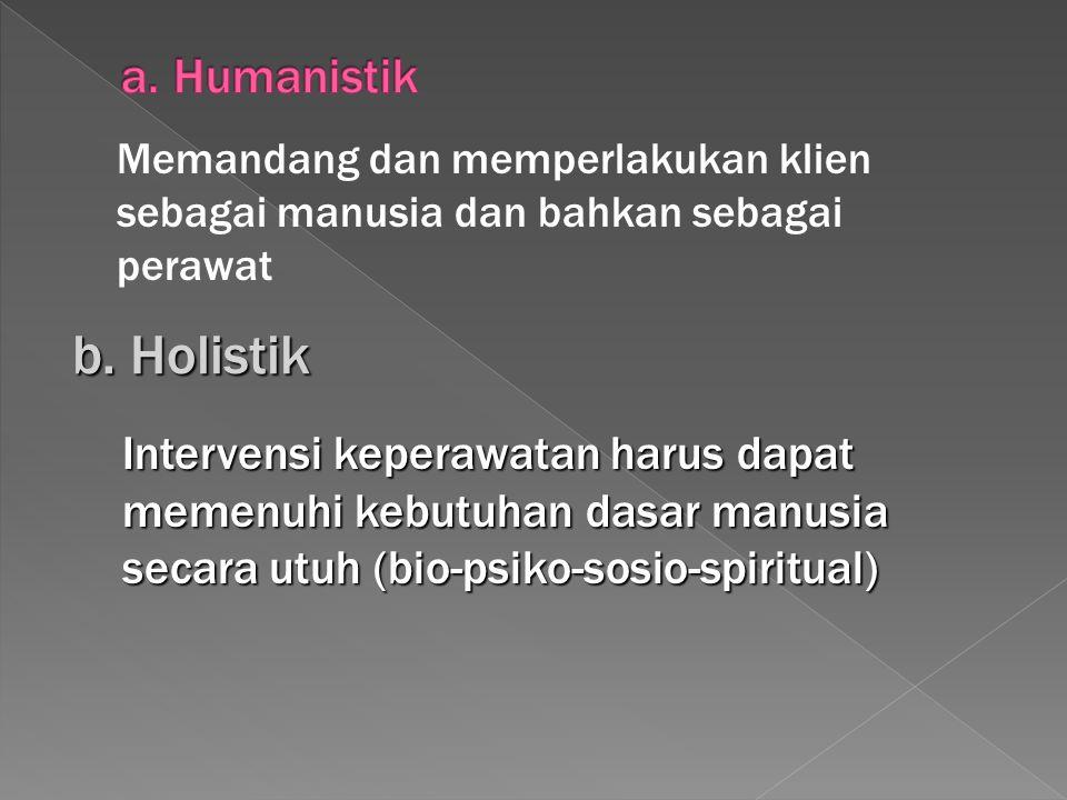 b. Holistik a. Humanistik
