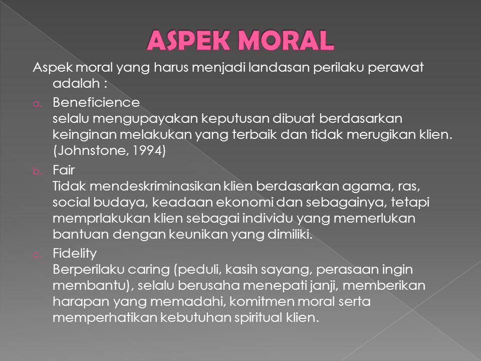 ASPEK MORAL Aspek moral yang harus menjadi landasan perilaku perawat adalah :