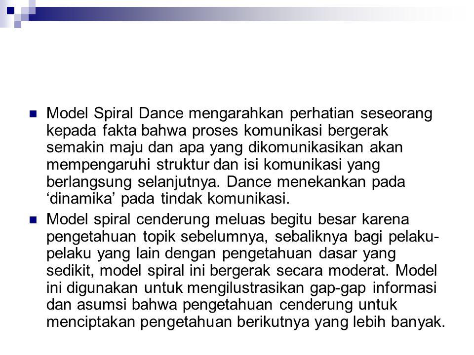 Model Spiral Dance mengarahkan perhatian seseorang kepada fakta bahwa proses komunikasi bergerak semakin maju dan apa yang dikomunikasikan akan mempengaruhi struktur dan isi komunikasi yang berlangsung selanjutnya. Dance menekankan pada 'dinamika' pada tindak komunikasi.
