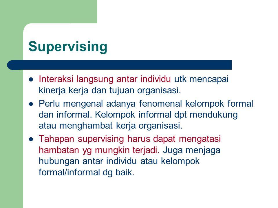 Supervising Interaksi langsung antar individu utk mencapai kinerja kerja dan tujuan organisasi.