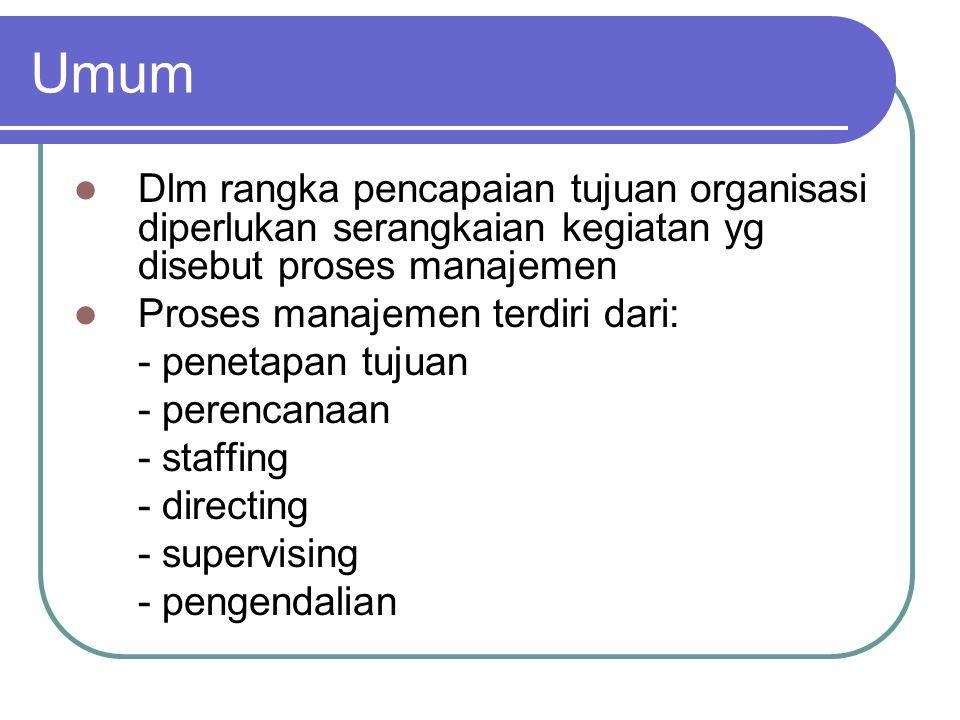 Umum Dlm rangka pencapaian tujuan organisasi diperlukan serangkaian kegiatan yg disebut proses manajemen.