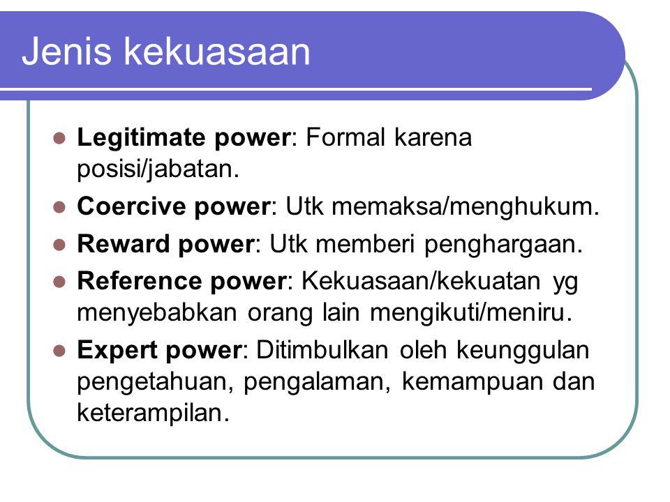 Jenis kekuasaan Legitimate power: Formal karena posisi/jabatan.