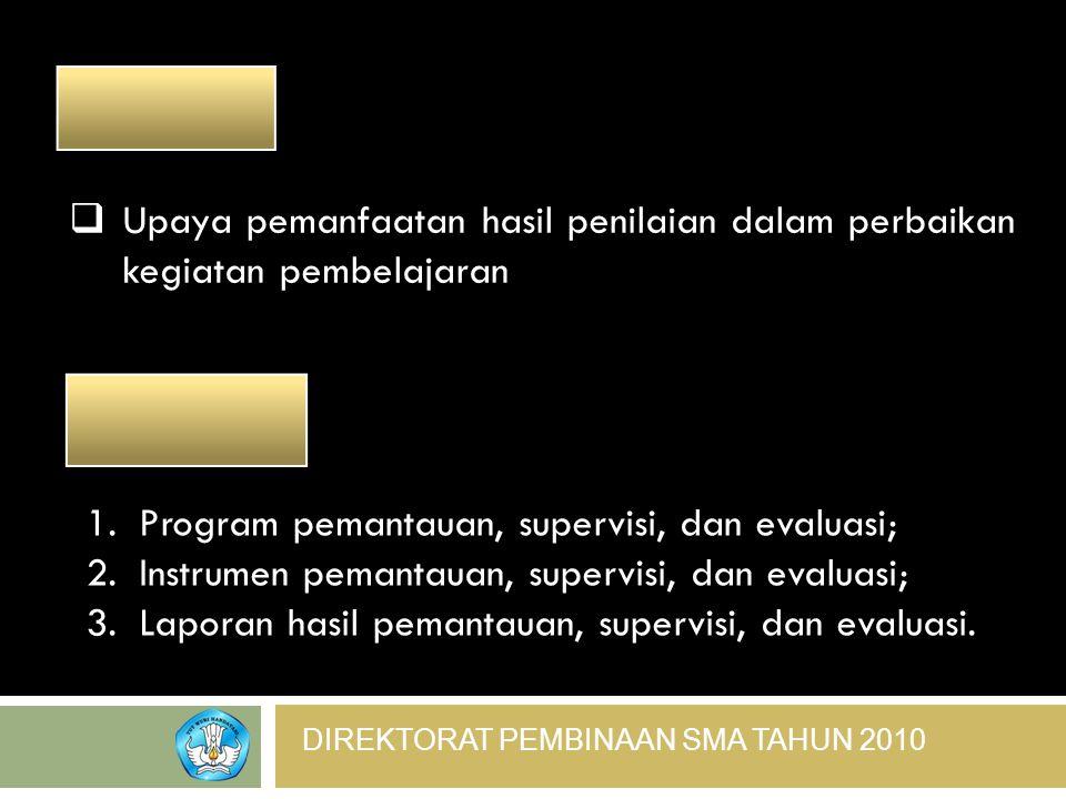 ________ Upaya pemanfaatan hasil penilaian dalam perbaikan kegiatan pembelajaran. _________. Program pemantauan, supervisi, dan evaluasi;