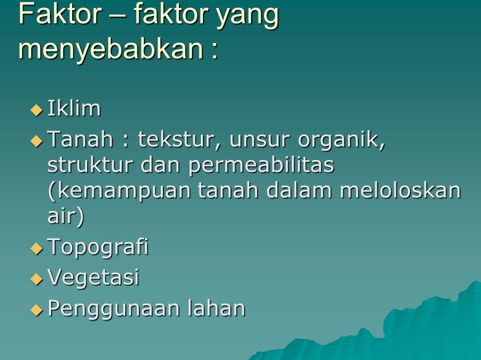 Faktor – faktor yang menyebabkan :