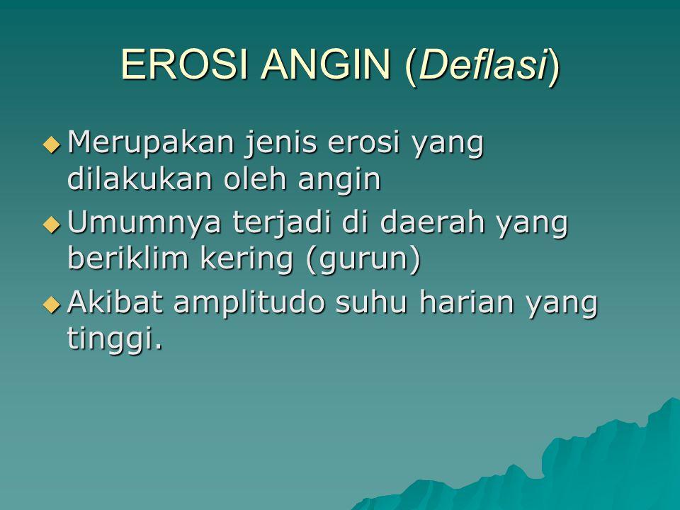 EROSI ANGIN (Deflasi) Merupakan jenis erosi yang dilakukan oleh angin