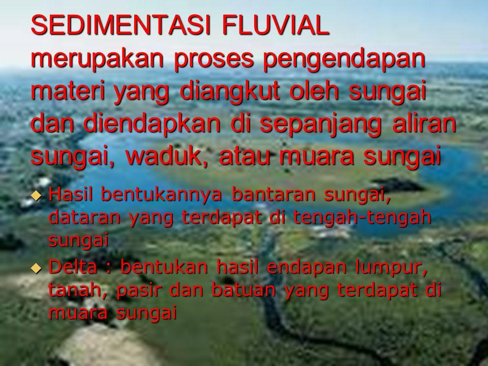 SEDIMENTASI FLUVIAL merupakan proses pengendapan materi yang diangkut oleh sungai dan diendapkan di sepanjang aliran sungai, waduk, atau muara sungai