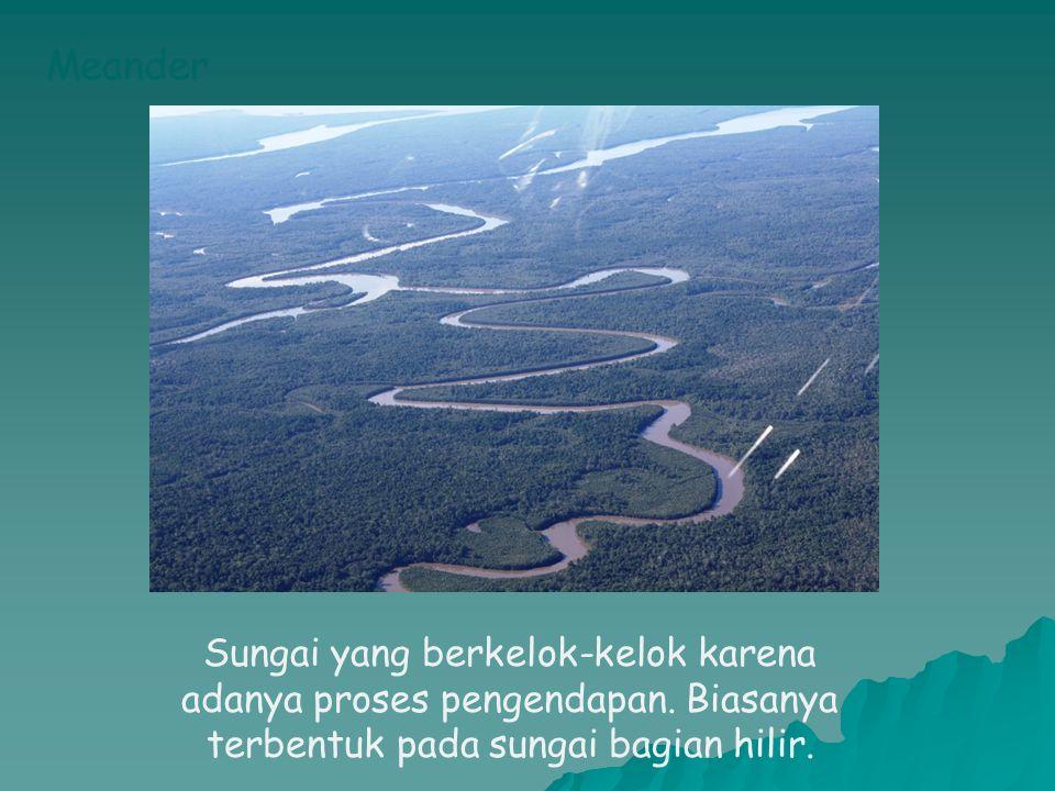 Meander Sungai yang berkelok-kelok karena adanya proses pengendapan.