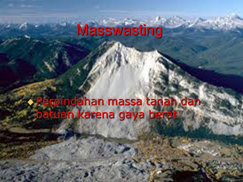 Masswasting Perpindahan massa tanah dan batuan karena gaya berat