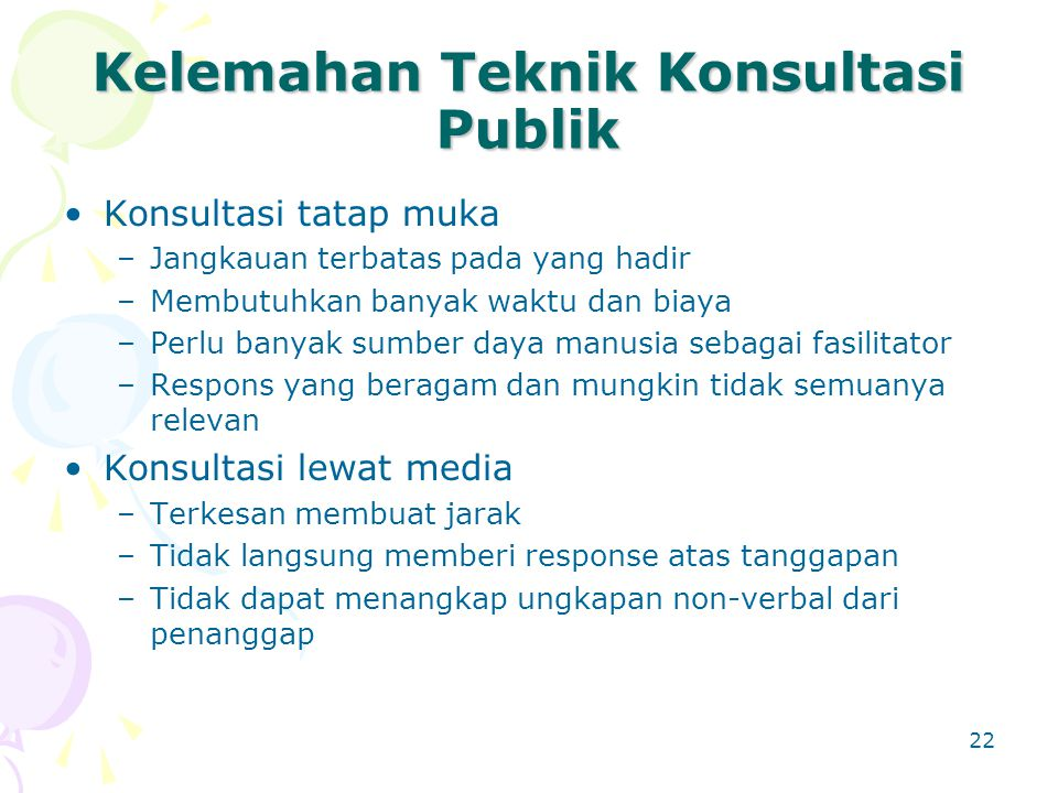 Kelemahan Teknik Konsultasi Publik