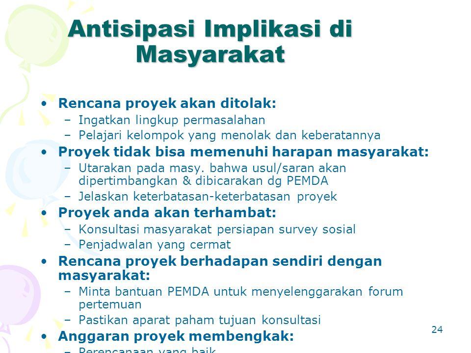 Antisipasi Implikasi di Masyarakat
