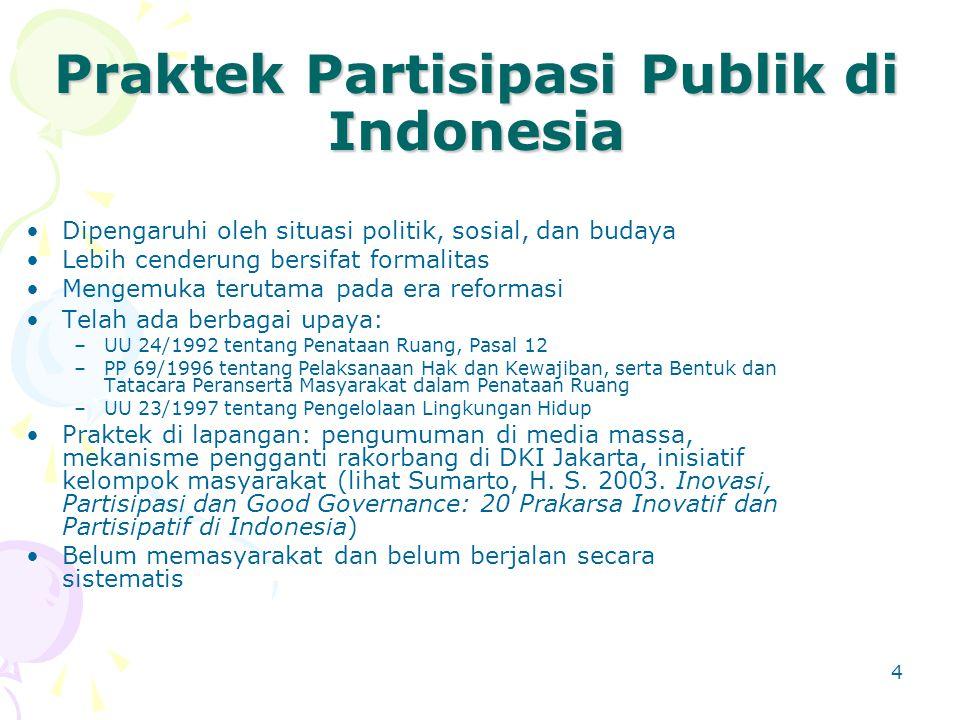 Praktek Partisipasi Publik di Indonesia