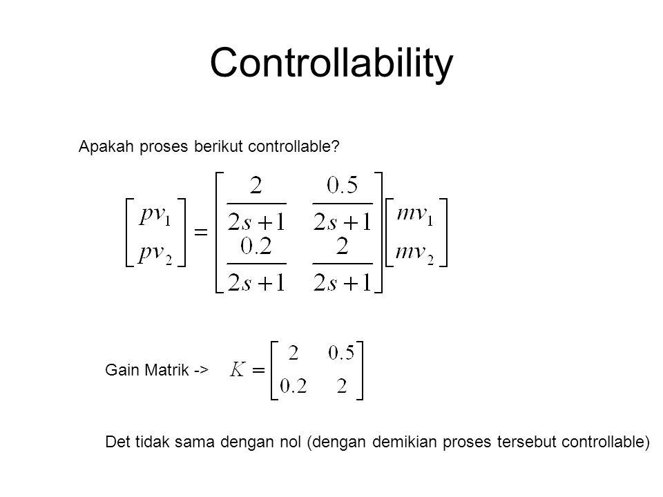 Controllability Apakah proses berikut controllable Gain Matrik ->