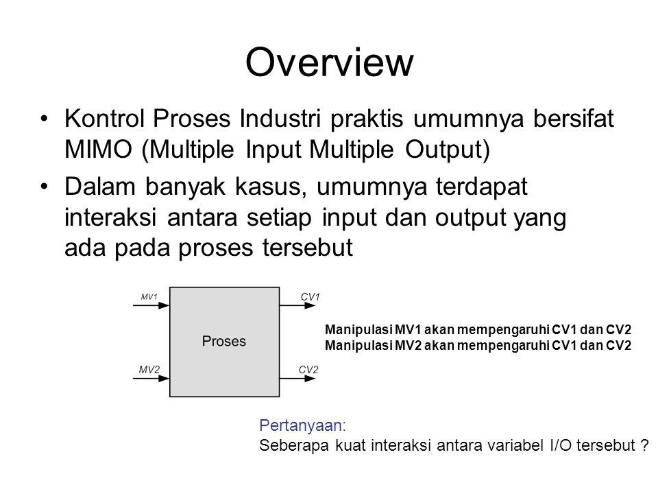 Overview Kontrol Proses Industri praktis umumnya bersifat MIMO (Multiple Input Multiple Output)