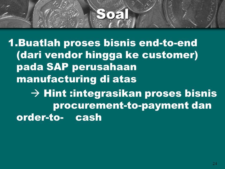 Soal 1.Buatlah proses bisnis end-to-end (dari vendor hingga ke customer) pada SAP perusahaan manufacturing di atas.
