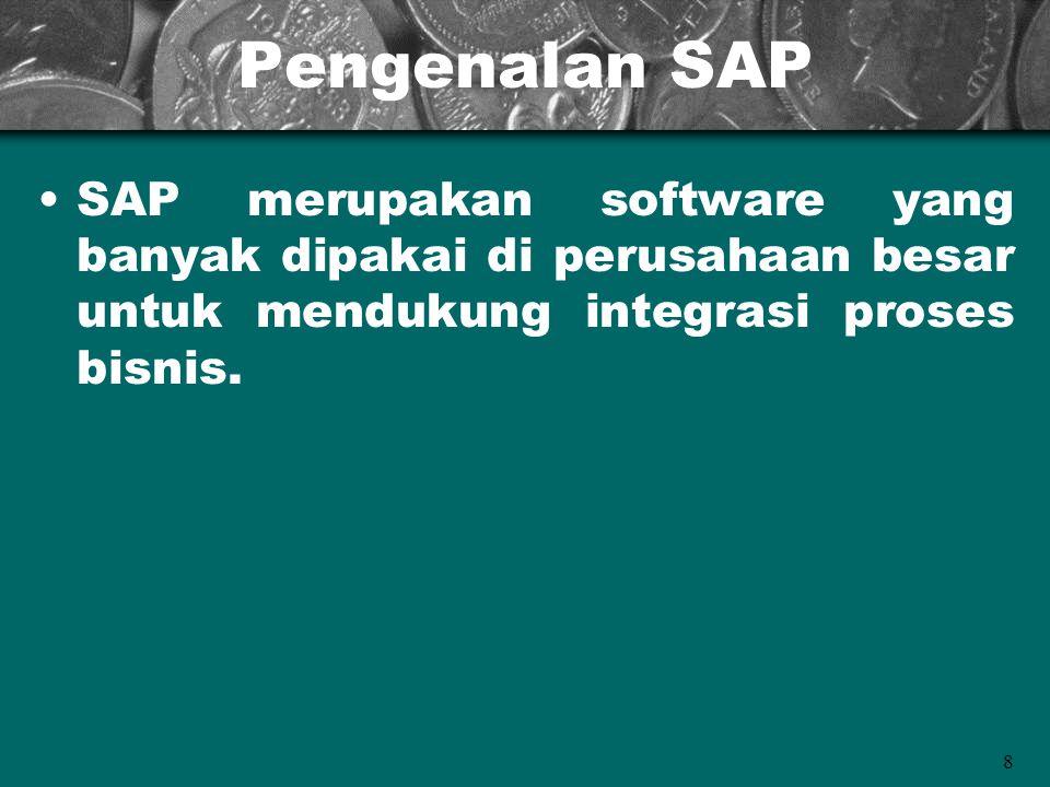 Pengenalan SAP SAP merupakan software yang banyak dipakai di perusahaan besar untuk mendukung integrasi proses bisnis.