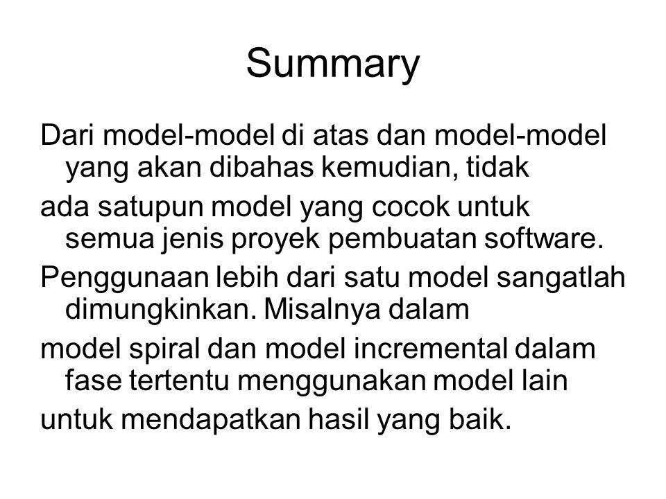 Summary Dari model-model di atas dan model-model yang akan dibahas kemudian, tidak.