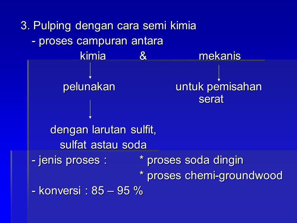 3. Pulping dengan cara semi kimia