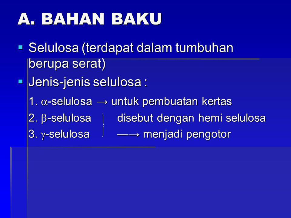 A. BAHAN BAKU Selulosa (terdapat dalam tumbuhan berupa serat)