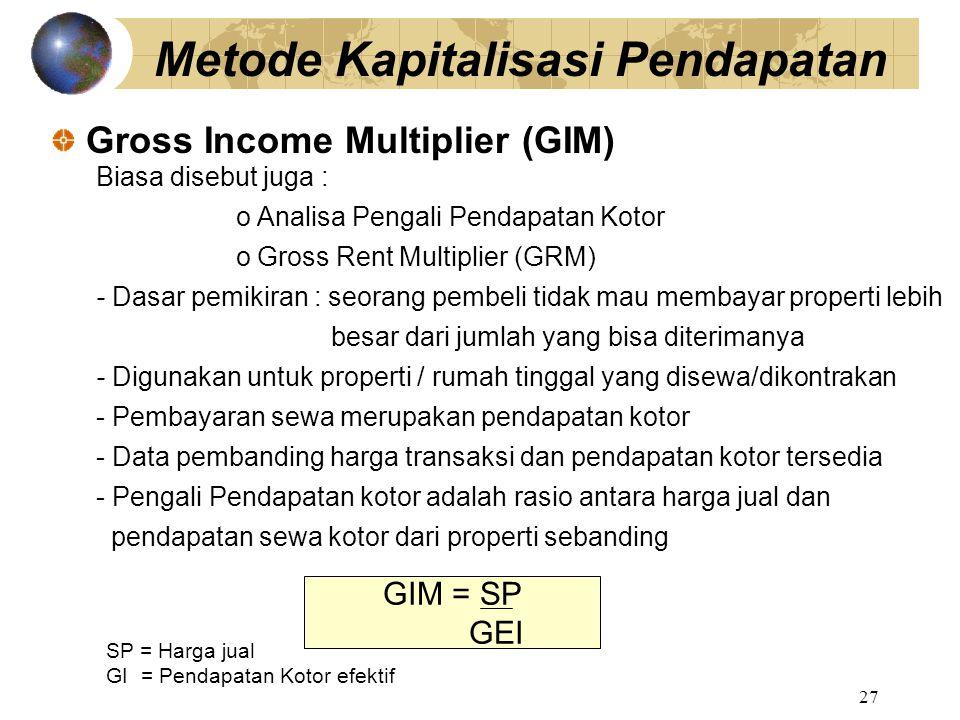 Metode Kapitalisasi Pendapatan