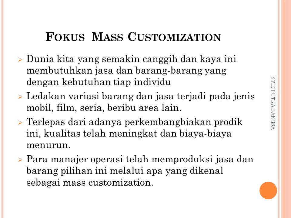 Fokus Mass Customization