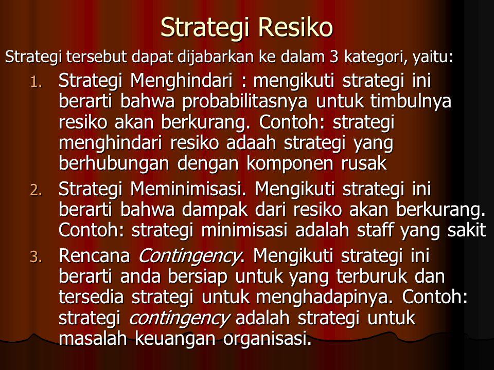 Strategi Resiko Strategi tersebut dapat dijabarkan ke dalam 3 kategori, yaitu: