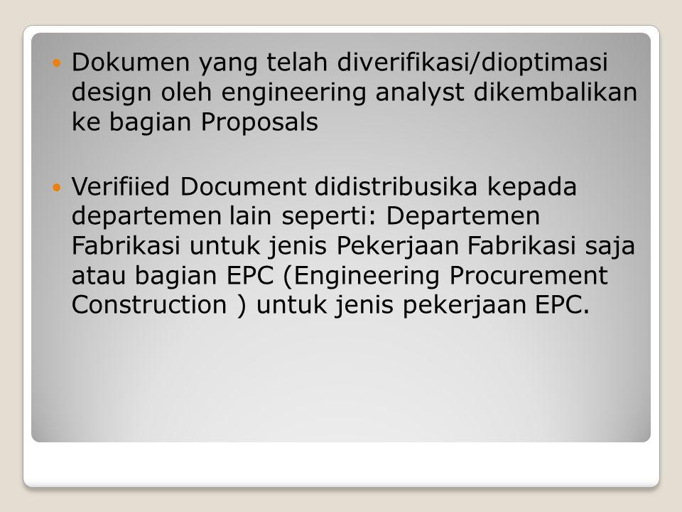 Dokumen yang telah diverifikasi/dioptimasi design oleh engineering analyst dikembalikan ke bagian Proposals