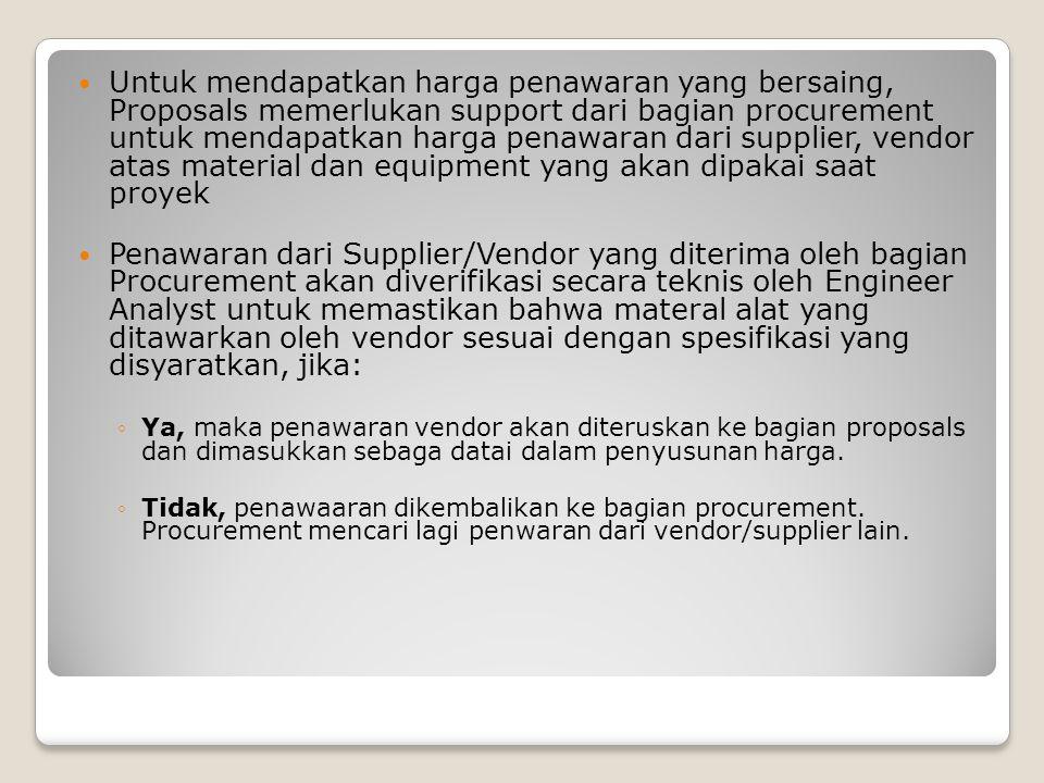 Untuk mendapatkan harga penawaran yang bersaing, Proposals memerlukan support dari bagian procurement untuk mendapatkan harga penawaran dari supplier, vendor atas material dan equipment yang akan dipakai saat proyek